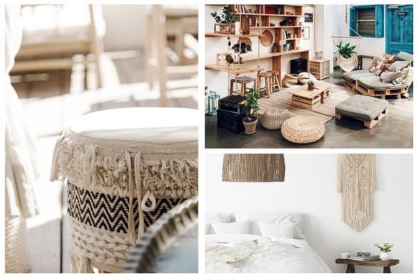 verschiedene Bilder von Möbelstücken und Dekoration im Boho Stil